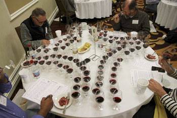 Judges ponder the reds in the final round of voting for Best of Show.